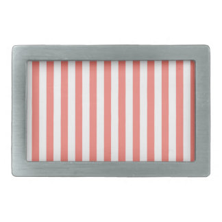 Thin Stripes - White and Coral Pink Belt Buckles