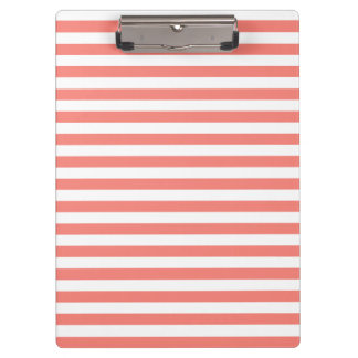 Thin Stripes - White and Coral Pink Clipboard