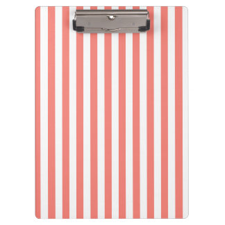 Thin Stripes - White and Coral Pink Clipboards
