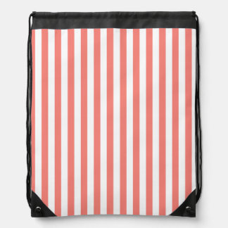 Thin Stripes - White and Coral Pink Drawstring Bag