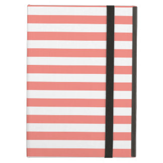 Thin Stripes - White and Coral Pink iPad Air Cover