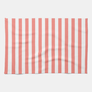 Thin Stripes - White and Coral Pink Kitchen Towel
