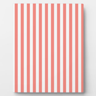 Thin Stripes - White and Coral Pink Plaque