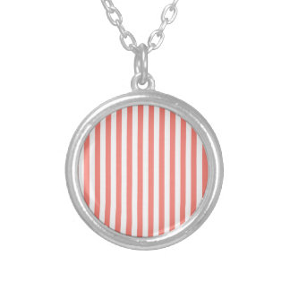 Thin Stripes - White and Coral Pink Silver Plated Necklace