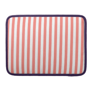 Thin Stripes - White and Coral Pink Sleeve For MacBooks