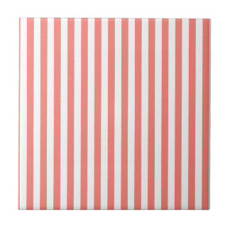 Thin Stripes - White and Coral Pink Tile