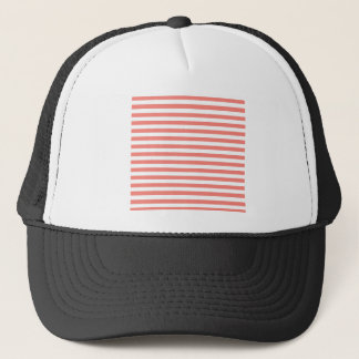 Thin Stripes - White and Coral Pink Trucker Hat