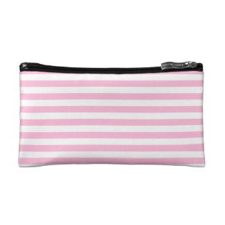 Thin Stripes - White and Cotton Candy Makeup Bags