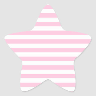 Thin Stripes - White and Cotton Candy Pink Star Sticker