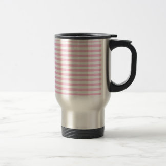 Thin Stripes - White and Cotton Candy Pink Travel Mug