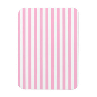 Thin Stripes - White and Cotton Candy Rectangular Photo Magnet