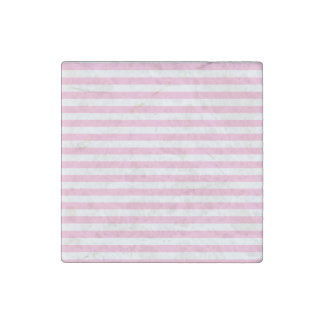 Thin Stripes - White and Cotton Candy Stone Magnets