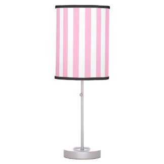 Thin Stripes - White and Cotton Candy Table Lamps