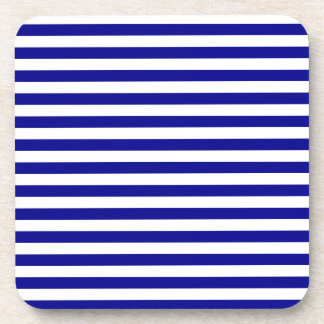 Thin Stripes - White and Dark Blue Coaster