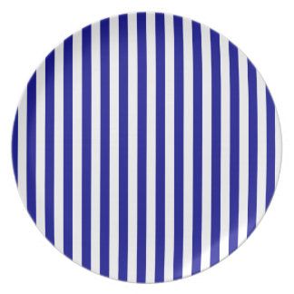 Thin Stripes - White and Dark Blue Party Plate