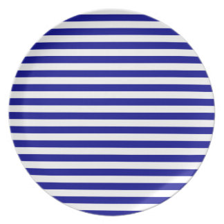 Thin Stripes - White and Dark Blue Party Plates