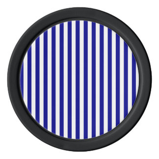 Thin Stripes - White and Dark Blue Poker Chips Set