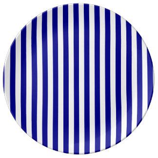 Thin Stripes - White and Dark Blue Porcelain Plates