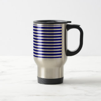 Thin Stripes - White and Dark Blue Travel Mug