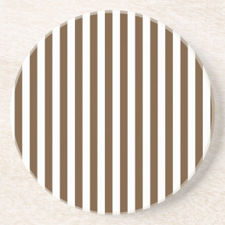 Thin Stripes - White and Dark Brown Coaster
