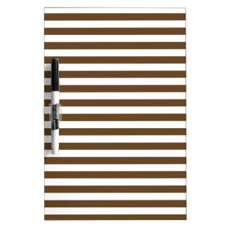 Thin Stripes - White and Dark Brown Dry Erase White Board