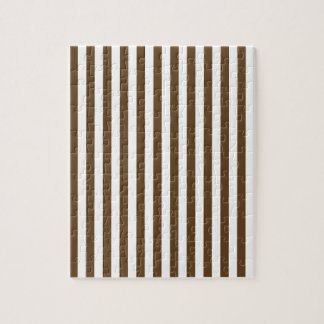 Thin Stripes - White and Dark Brown Jigsaw Puzzle