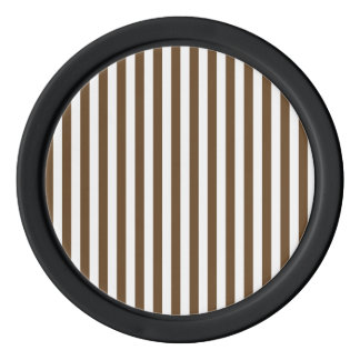 Thin Stripes - White and Dark Brown Poker Chip Set