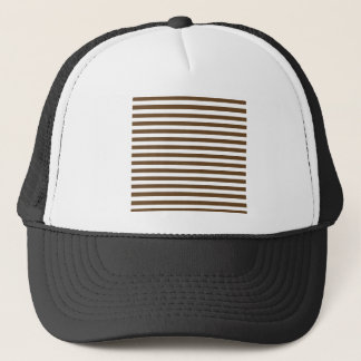 Thin Stripes - White and Dark Brown Trucker Hat