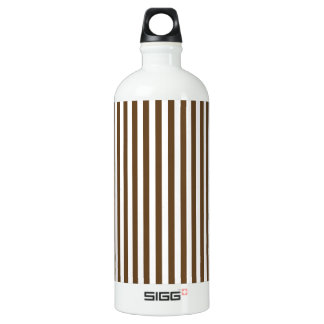 Thin Stripes - White and Dark Brown Water Bottle