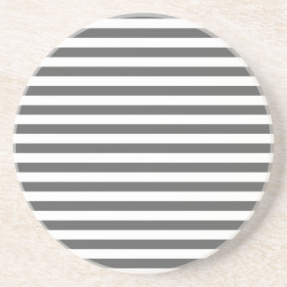 Thin Stripes - White and Dark Gray Drink Coaster