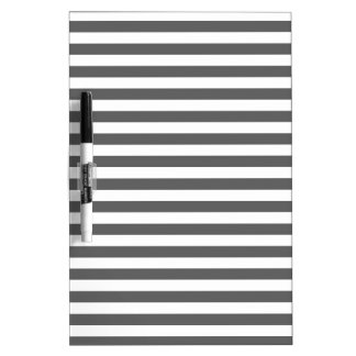 Thin Stripes - White and Dark Gray Dry Erase White Board