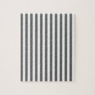 Thin Stripes - White and Dark Gray Jigsaw Puzzle