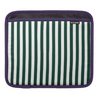 Thin Stripes - White and Dark Green iPad Sleeve