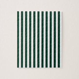 Thin Stripes - White and Dark Green Jigsaw Puzzle
