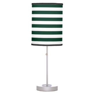 Thin Stripes - White and Dark Green Table Lamp