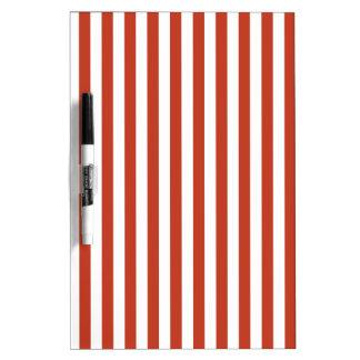 Thin Stripes - White and Dark Pastel Red Dry Erase Whiteboard