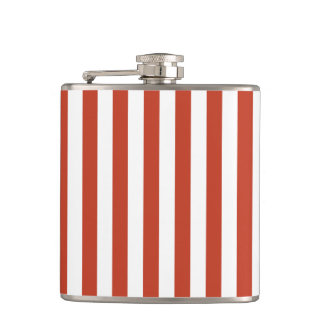 Thin Stripes - White and Dark Pastel Red Hip Flask