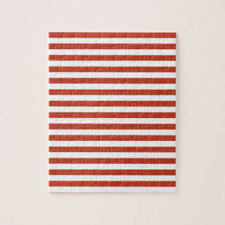 Thin Stripes - White and Dark Pastel Red Jigsaw Puzzle