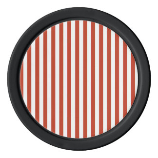 Thin Stripes - White and Dark Pastel Red Poker Chips