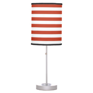 Thin Stripes - White and Dark Pastel Red Table Lamps