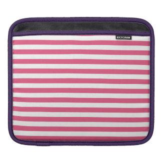 Thin Stripes - White and Dark Pink iPad Sleeve