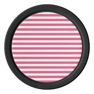 Thin Stripes - White and Dark Pink Poker Chips