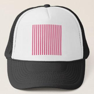 Thin Stripes - White and Dark Pink Trucker Hat