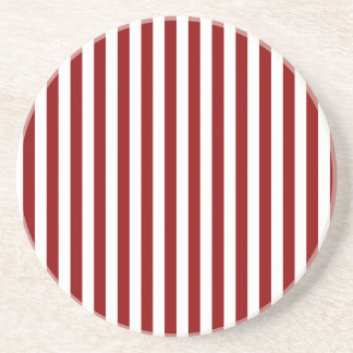 Thin Stripes - White and Dark Red Beverage Coaster