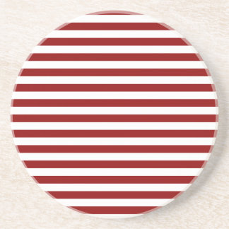 Thin Stripes - White and Dark Red Drink Coasters