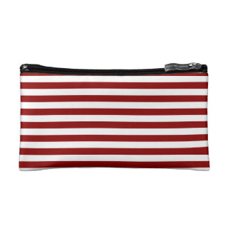 Thin Stripes - White and Dark Red Makeup Bags
