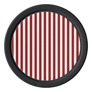 Thin Stripes - White and Dark Red Poker Chips