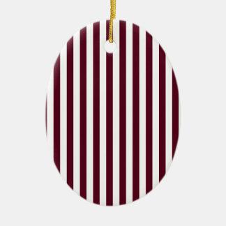 Thin Stripes - White and Dark Scarlet Ceramic Ornament