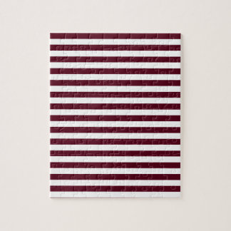 Thin Stripes - White and Dark Scarlet Jigsaw Puzzle