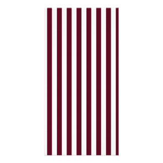Thin Stripes - White and Dark Scarlet Photo Card Template